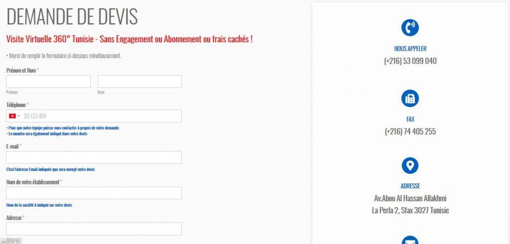 formulaire de devis visite virtuelle 360